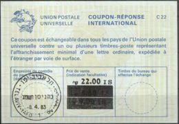 ISRAEL 1983 Nr. 139 IAS IRC CRI Int. Antwortschein 22.00 Auf 5.60 IS - Israel
