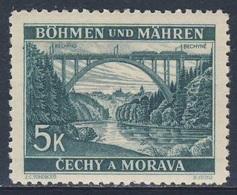 Böhmen Und Mähren 1940 Mi 57 SG 53 * MH - Bridge At Bechin / Lainsitzbrücke Mit Bechin Im Hintergrund - Treinen
