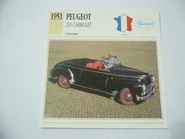 CARTOLINA CARD SCHEDA TECNICA AUTO PEUGEOT 203 CABRIOLET 1951 FRANCIA - Altre Collezioni