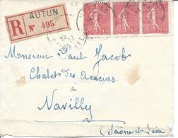 50c Rouge N°199 Bande De 3 Recommandé AUTUN 20 7 1927 Pour Navilly - 1903-60 Semeuse Lignée