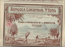 LOT DE 5 PARTS DE FONDATEUR ILLUSTREE -BONGOLA LOKUNDJE N'YONG -DOUALA - CAMEROUN -1927 - Africa