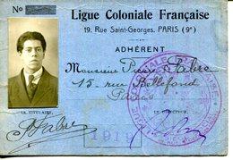 """CARTE DE MEMBRE """" LIGUE COLONIALE FRANÇAISE.PARIS.1919. - Vieux Papiers"""