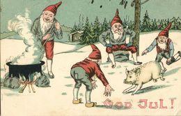 GOD JUL!, Swedish Christmas Postcard, Gnomes Catching Pigs For Dinner (1909) - Christmas