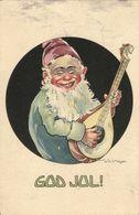 GOD JUL!, Swedish Christmas Postcard, Gnome Play Mandolin (1910s) Signed Meijer - Andere Zeichner