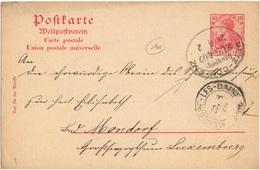 ALLEMAGNE REICH ENTIER OBLITERE AMBULANT METZ  LORRAINE COBLENCE POUR LUXEMBOURG - Allemagne