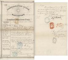 Passeport Suisse Berne 1849 Pour Les USA Généalogie Remel Schutterwald District D'Offenbourg - Documents Historiques