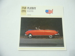 CARTOLINA CARD SCHEDA TECNICA AUTO PLAYBOY ROADSTER 1948 USA - Autres Collections