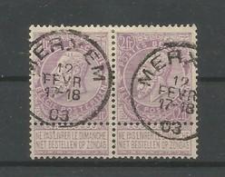 OCB 67 Gestempeld In Paar Merxem 19 Fevr 17-18 - 1893-1900 Thin Beard