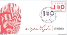 O) 2018 COLOMBIA, POLAND REGAINING INDEPENDENCE-JOZEF PILSUDSKI -FINGERPRINT-FIRST CHIEF OF INDEPENDENT POLAND. FDC XF - Colombia