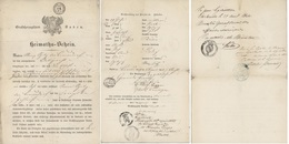 Passeport 1848 Heimaths-Schein Baden Carelsruhe, Bernau, Freiburg Héraldique Papier Timbré - Fiscaux