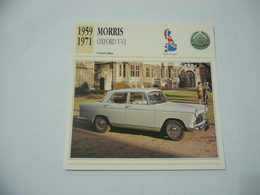 CARTOLINA CARD SCHEDA TECNICA AUTO MORRIS OXFORD V-VI 1959 GRAN BRETAGNA - Autres Collections
