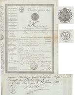 Passeport 1813 Héraldique Papier Timbré Bar Sur Ornain Blerio Département De L'Ario Généalogie Ortaria - Documents Historiques