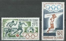 Tchad Poste Aérienne YT N°18-19 Jeux Olympiques De Tokyo 1964 Oblitéré ° - Chad (1960-...)