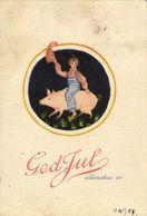 GOD JUL!, Swedish Christmas Postcard, Gnome Riding A Pig (1940s) - Christmas