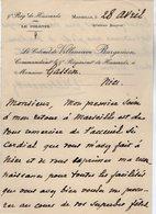 VP13.673 - MARSEILLE  - LAS - Lettre De Mr Le Colonel De VILLENEUVE BARGEMON Au 9 ème De Hussards Pour Mr GASSIN à NICE - Autographes