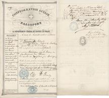 Passeport Pour Les USA Par Le Havre  Suisse Berne 1849 Généalogie Beiermeister Zuzenhausen District De Sinsheim - Documents Historiques