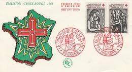 1323 / 1324 PAIRE CROIX ROUGE En FDC - BOURGES 2/12/61 - 1960-1969
