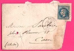 Napoléon III - Fragment D'enveloppe - Rouen Vers Caen - Oblit. Losange Surpiquage N° 219 - 1888 - Marcofilie (Brieven)