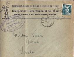 60 - OISE - GOUVIEUX - 1945 -  TàD De Type A6 + ENTETE - Manual Postmarks