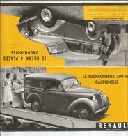Dépliant Publicitaire, Renault Fourgonnette Dauphinoise; Break 4 Places Dauphinoise, à Billancourt - Automovilismo