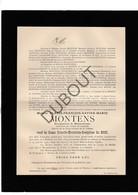 Doodsbrief Alexis-F.X.M Montens °1825 Mechelen  †1907 Chateau Massenhoven / Burgemeester Massenhoven (H1) - Décès