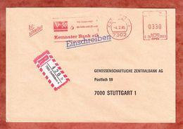 Einschreiben Reco, Hasler C26-2933, Kemnater Bank, 330 Pfg, Ostfildern 1985 (61577) - BRD