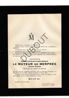 Doodsbrief Adrien-Charles Le Mayeur De Merprès °1844 Watermaal Bosvoorde †1923 Brussel / Schilder/Peintre (H2) - Décès