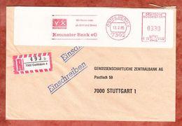 Einschreiben Reco, Hasler C26-2933, Kemnater Bank, 330 Pfg, Ostfildern 1985 (61579) - BRD
