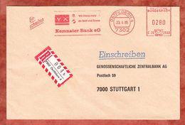Einschreiben Reco, Hasler C26-2933, Kemnater Bank, 280 Pfg, Ostfildern 1985 (61581) - BRD