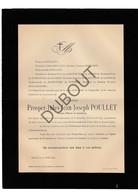 Doodsbrief Prosper Jules Jean Joseph Poullet °1837 Leuven †1907 Antwerpen / Cavalerieofficier (H3) - Décès