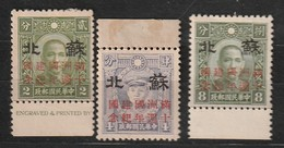 CHINE - OCCUPATION JAPONAISE - Province Supeh - N°273+274+275 * (1942) - 1941-45 Chine Du Nord