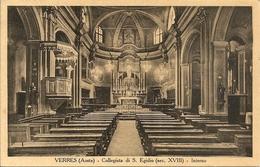 VERRES - COLLEGIATA DI S. EGIDIO - INTERNO  - FORMATO PICCOLO - VIAGGIATA 1937 - (rif. B19) - Italy