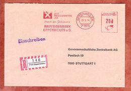 Einschreiben Reco, Absenderfreistempel, Raiffeisenbank Oppenweiler, 280 Pfg, 1984 (61584) - BRD