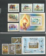 COTE IVOIRE Scott 522-526 527, C66-C69 C70 Yvert 511-515 BF15, PA71-PA74 BF16 (9+2blocs) O Cote 9,50 $ 1979 - Côte D'Ivoire (1960-...)