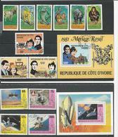 COTE IVOIRE Scott 528-33, 593-5 596, 585-8 589 Yvert 516-21, 580-2 BF18, 573-6 BF17 (13+2blocs) O Cote 12,30 $ 1979 - Côte D'Ivoire (1960-...)