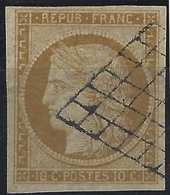 1849 - 1850 Céres N°1 10c Bistre Jaune Obl Grille Légère, Belles Marges !! Superbe Signé BRUN - 1849-1850 Ceres