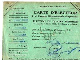 VP13.678 - CLERMOND FERRAND 1936 - Carte D'Electeur - Mr  MOSNIER à ORCINES - Collections