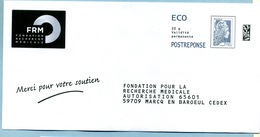 Marianne L'Engagée  PAP Réponse ECO  Fondation Pour La Recherche Médicale LOT 193269 - Postal Stamped Stationery