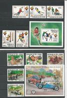 COTE IVOIRE Scott 600-604 605, 611-615 616 Yvert 583-587 BF19, 593-594 BF20 (10+2blocs) O Cote 10,75 $ 1981 - Côte D'Ivoire (1960-...)