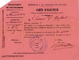 VP13.680 - CLERMONT FERRAND 1909  - Carte D'Electeur - Veuve GUYBERT à BEAUMONT - Collections