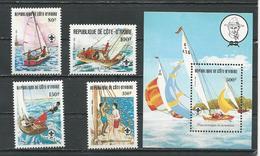 COTE IVOIRE Scott 631-634 635 Yvert 613-616 BF22 (4+bloc) ** Cote 15,30 $ 1982 - Côte D'Ivoire (1960-...)