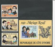 COTE IVOIRE Scott 642-644 645 Yvert 622-624 BF23 (3+bloc) ** Cote 9,00 $ 1982 Surcharges - Côte D'Ivoire (1960-...)