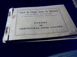Vieux Papier Carnet Caisse De Conges Payes Du Batiment Illustré Par Sempé Puget...annee 1955 - Menus