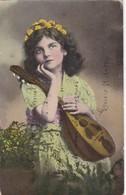 NIÑA GIRL FILLE MANDOLINE FLORES FLOWERS FLEURES FANCY COLORISE AL.VOYAGEE 1915 - BLEUP - Taferelen En Landschappen
