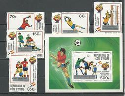COTE IVOIRE Scott 651-655 656 Yvert 632-636 BF24 (5+bloc) ** Cote 15,25 $ 1982 Surcharges - Côte D'Ivoire (1960-...)