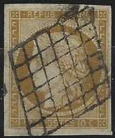 1849 - 1850 Céres N°1c 10c Bistre Verdatre Obl Grille Nuance Catacteristique Grandes Marges Signé Calves - 1849-1850 Ceres