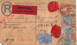 MANCHESTER  -  Fee Paid ( Lettre Chargée )  Registered Letter  -insured   With Stamps    ..to Paris -1902 - Postmark Collection