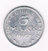 3 MARK 1922 A DUITSLAND /8003/ - [ 3] 1918-1933 : Republique De Weimar