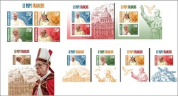 Niger 2013, Pope Francis, 4val In BF+7BF IMPERFORATED - Papes