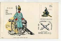 TARJETA FDC DIA DEL EJERCITO ARTILLERO DE LINEA DE 1826 DIA DE EMISION 1971 BUENOS AIRES ARGENTINA -LILHU - Militaria